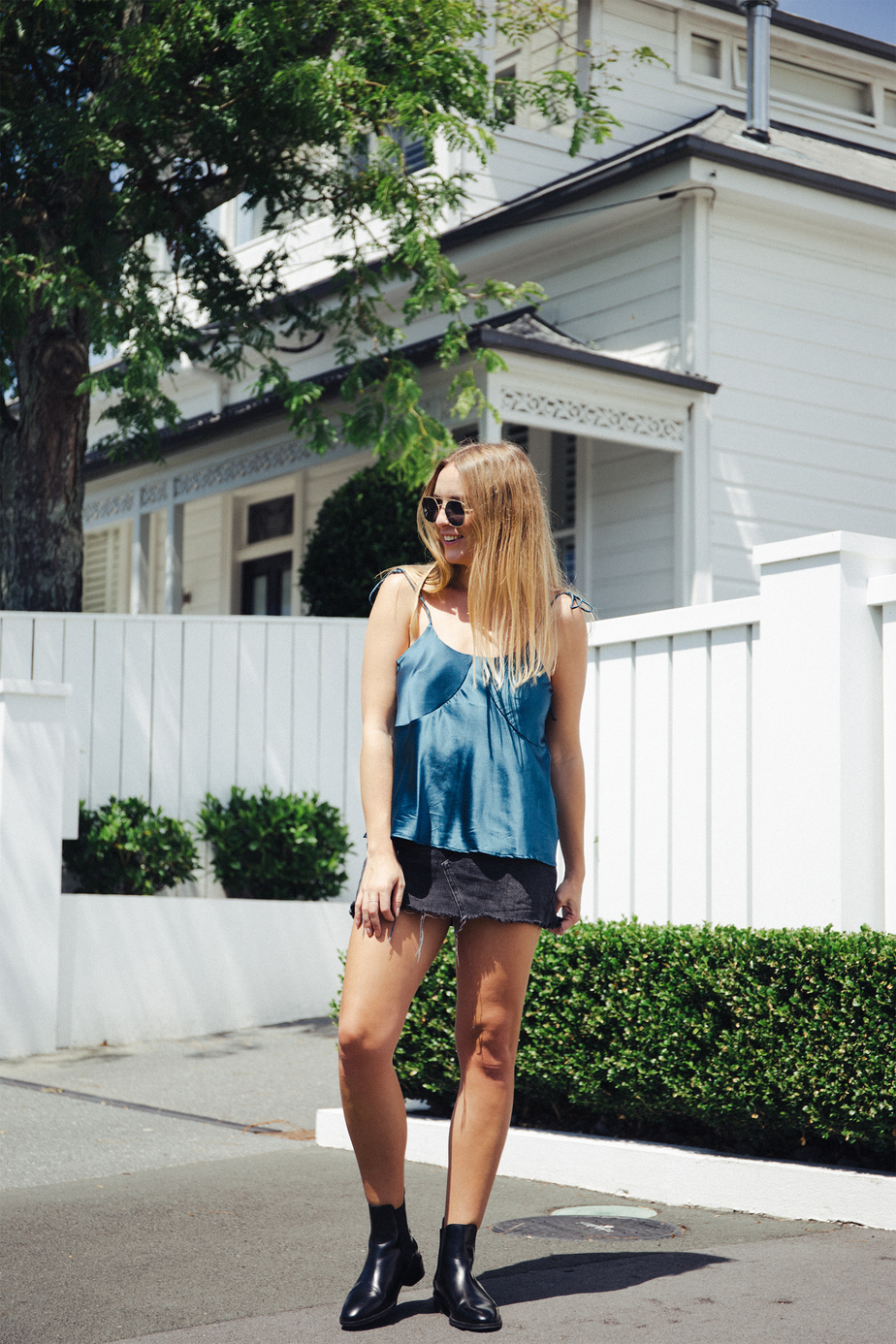 Ellis & Friends Bowie Top, BDG Denim Skirt, COS Boots, Shevoke Sunglasses | Stolen Inspiration | New Zealand Fashion Blog